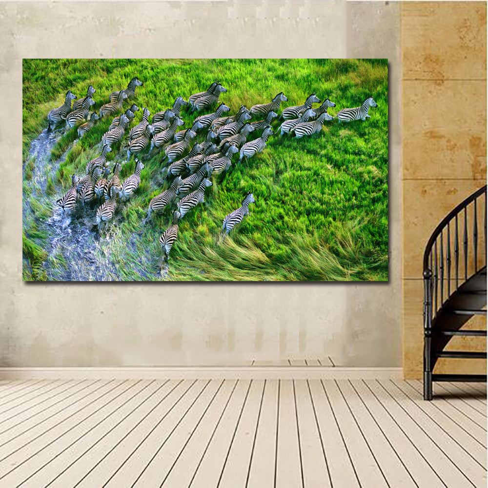 Zebras In The Jungle Wall Art Prints Animal Canvas Painting Decoration For Living Room Printing Poster Unframed