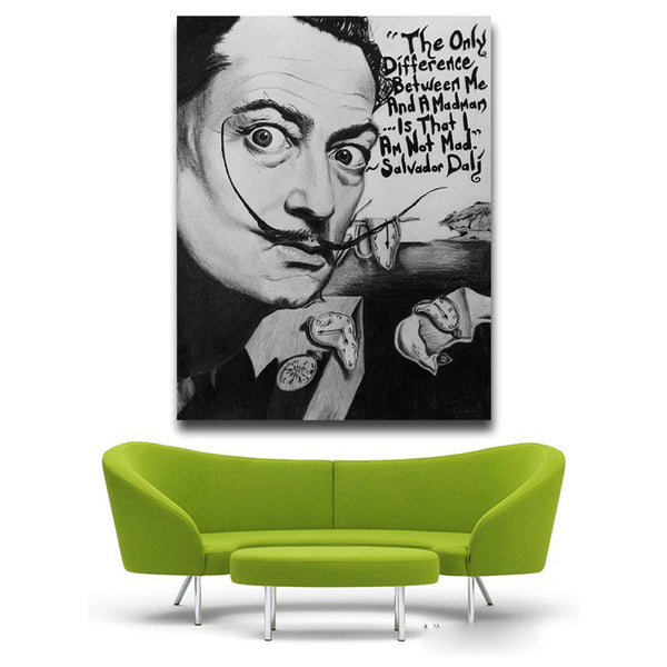 Salvador Dali black and white Pop Art Oil Painting Face Portrait Print Wall Painting For Living room No Frame free shipping