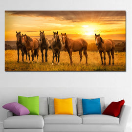 Six Horses In Grassland Sunset Landscape Prints Canvas Art Printed On Canvas Painting Wall Print And Poster Home Decor