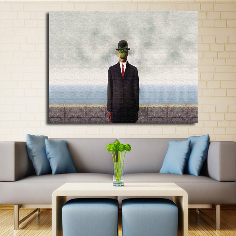 Son Of Man Oil Painting Arts Print On Canvas By Rene Magritte For Wall Discount Canvas Print