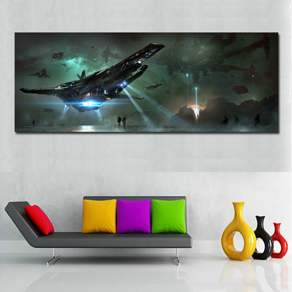 Spacecraft Flying In Sky Movie Poster Wall Art Painting Huge Canvas Ar Discount Canvas Print