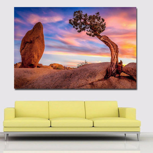 Stone And Tree Of USA Park Landscape Painting Printed On Canvas Prints Posters Home Decoration Wall Art Paintings Unframed