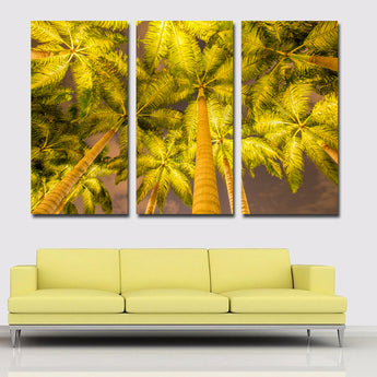 Triple Painting Autumn Palma Tree Wall Art Picture Gift Home Decoration Canvas Print painting Drop Shipping Unframed