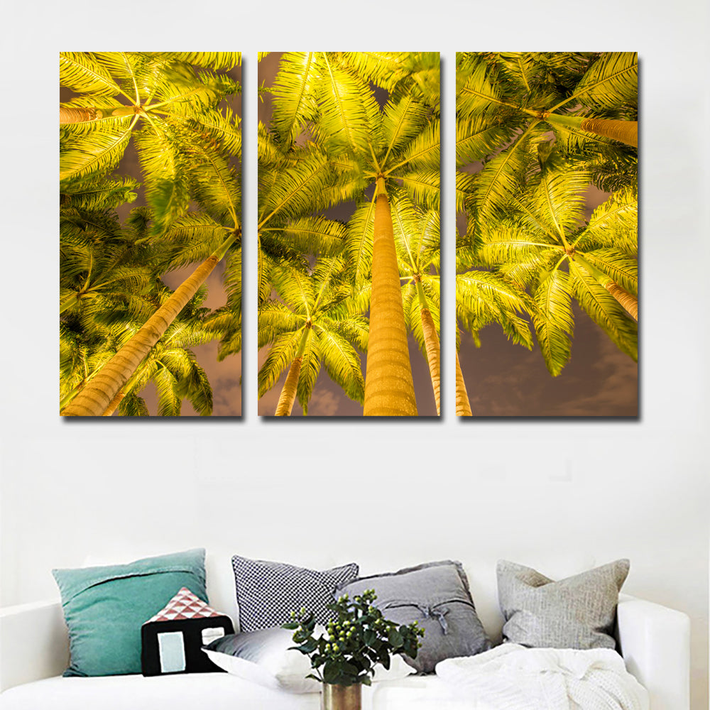 Triple Painting Autumn Palma Tree Wall Art Picture Gift Home ...