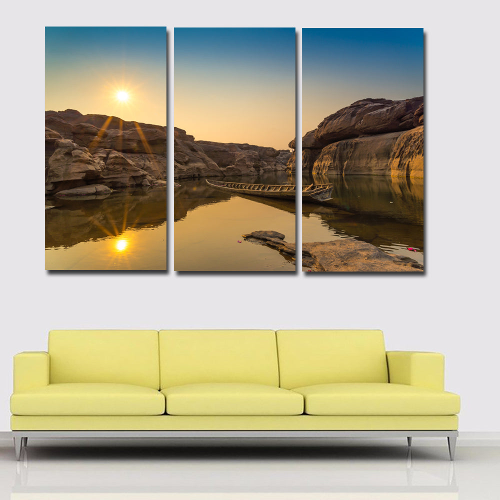 Triple Painting Thailand Lake Sunset Painting Wall Art Home