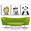 Unframed Triptych Nordic Animal Lion Bear Panda Art Prints Wall Poster And Picture Canvas Painting For Kids Room Home Decor