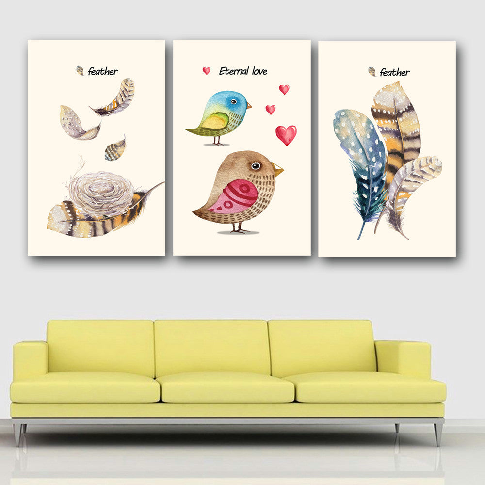 WALL Nordic Fashion bird Feathered Poster Wall Art Canvas Painting ...