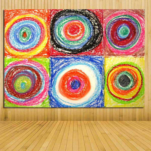 Wall Art Abstract Painting Kandinsky's Circles Masterpiece Momma Picture Printed On Canvas Modern Wall Art Decor