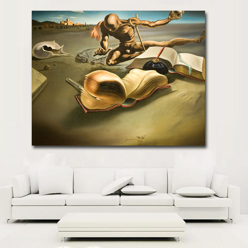 Wall Art Prints People With Books By Salvador Dali Painting Printed