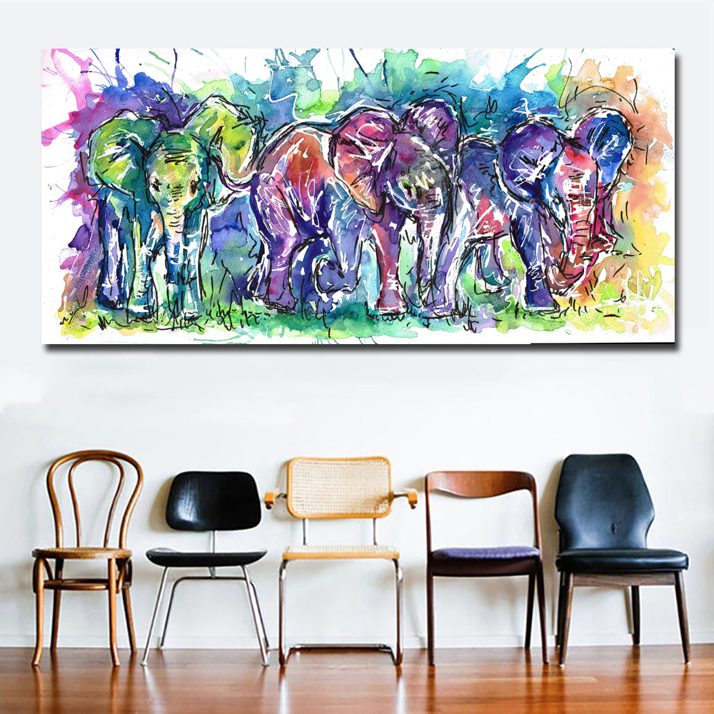 Watercolor Animal Art Abstract Elephant Oil Painting Printed On Canvas Wall Art Print Poster For Living Room Home Decoration