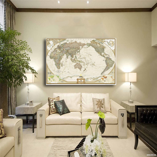 World Map Painting Canvas Prints No Frame Large Wall Art Europe Vintage Earth Maps Picture Poster Living Room Study Office Decor