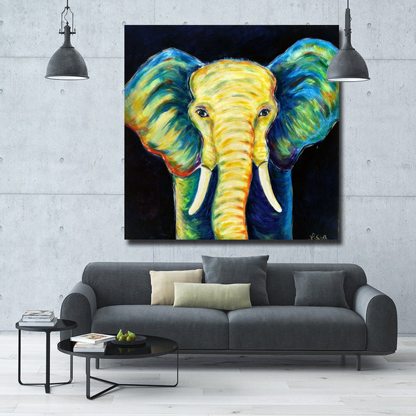 Yellow Nose Elephant Painting Printed On Canvas Black Background Pictures Wall Art Posters And Prints For Living Room Decor
