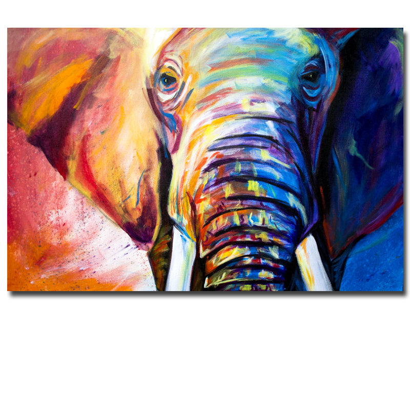 Blue Watercolor Animal Canvas Wall Art Elephant Painting Picture For H Discount Canvas Print