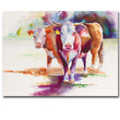 hereford cattle watercolor painting Artist Abstract Animal Cow printed Oil Painting Pop Art Painting For Living Room Decoration