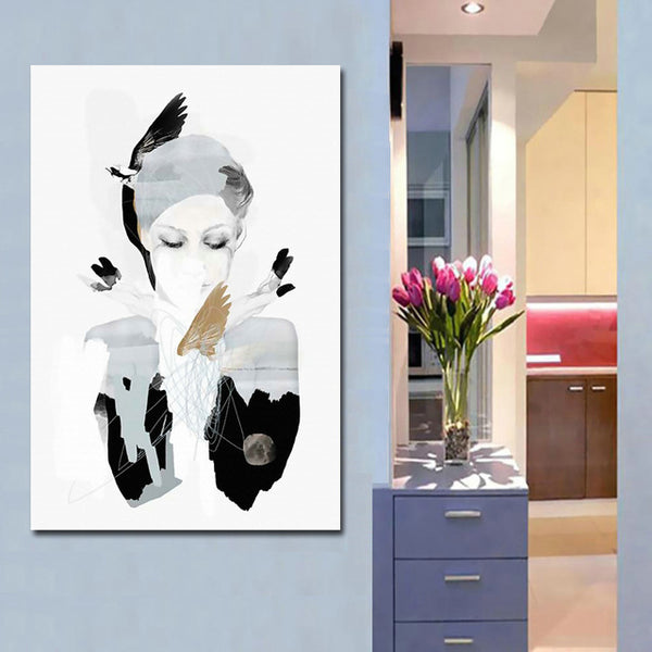 Nordic black white girl Painting Wall Posters Decoracion Posters And Prints Plant Art Poster Canvas Painting free shipping