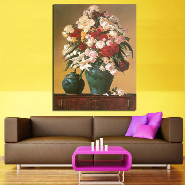 Frameless Flower Vintage Painting Painting Printed On Canvas Wall ...