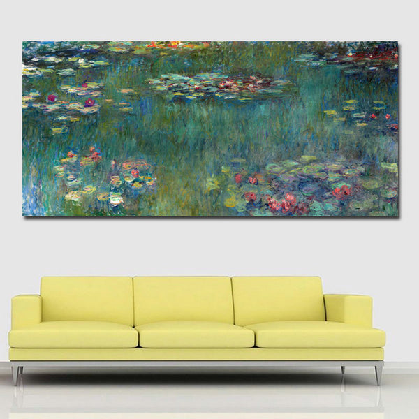 Claude Monet Water Lilies 1906 printed Canvas painting Giclee art Wall art living room Unframed freeshipping