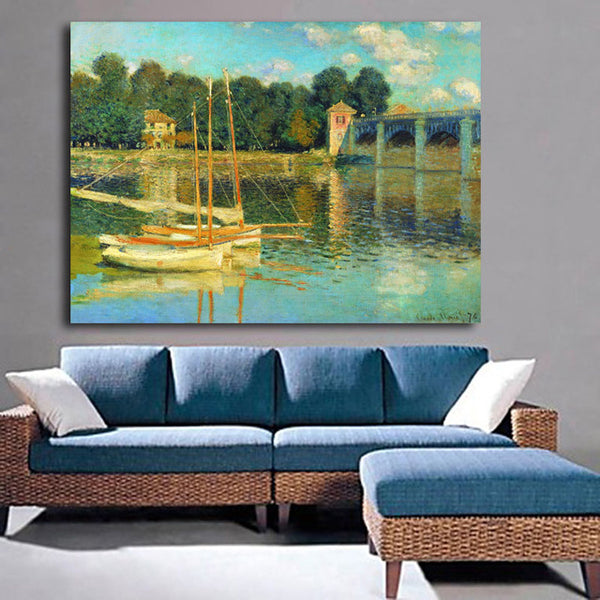 Abstract Sailboat Bridge Pictures By Monet Landscape Oil Painting Art Prints Poster Wall Pictures Canvas Painting No Framed