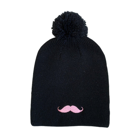 Slouchy Moustache Beanie with Pom Pom