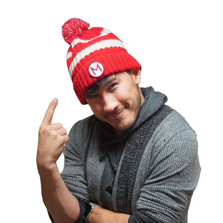 Markiplier Red Stripe Pom Pom Hat