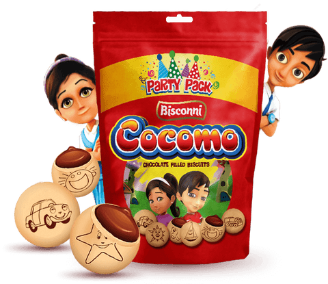 Cocomo Chocolate filled biscuits, cocoa, cream, shapes