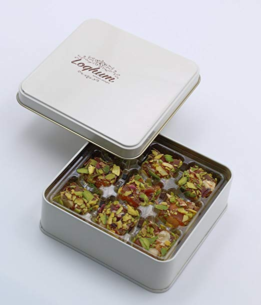 Loqhum Turkish Delight - Hazelnut with Orange Flavor - Covered with Cut Pistachio - Authentic Turkish Lokum in a Premium Tin Gift Box - 9 pcs