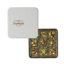 Loqhum Turkish Delight - Pistachio with Honey Flavor - Covered with Cut Pistachios - Authentic Turkish Lokum in a Premium Tin Gift Box - 9 pcs