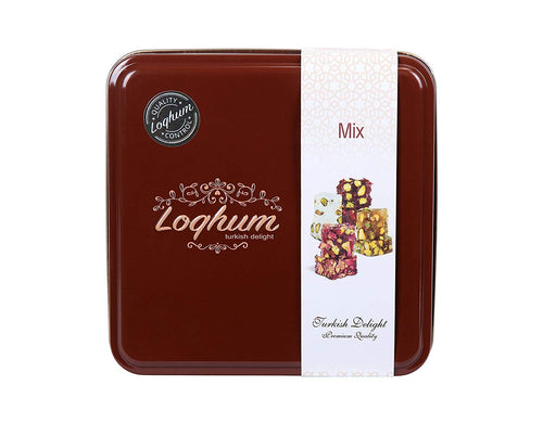 Loqhum Turkish Delight - Mix of 4 Flavors - Milk w/Powder Sugar & Honey w/Cut Pistachio and Pomegranate w/Rose Petals & Sour Raisins - Authentic Turkish Lokum in a Premium Tin - 16 Pieces
