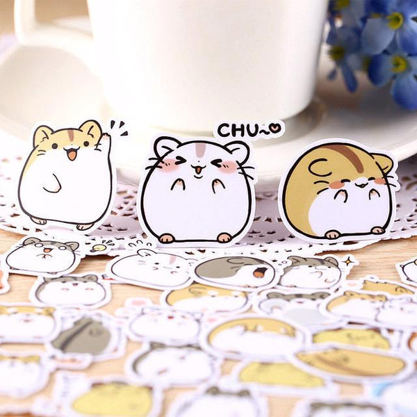 40 Pcs Kawaii Japanese Hamster Sticker Set