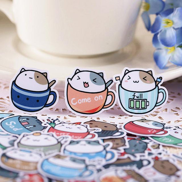 Kawaii Kitten in The Cup Sticker Set