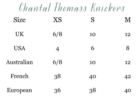 Chantal Thomass Knickers Size Guide