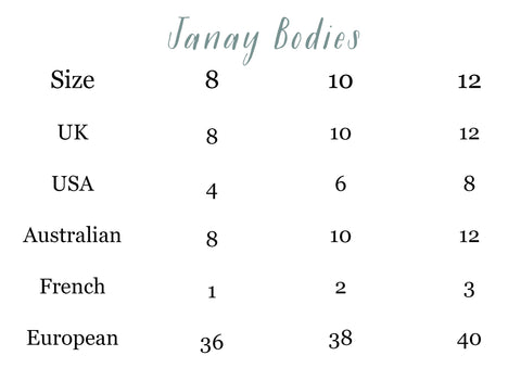 Janay Bodies Size Guide