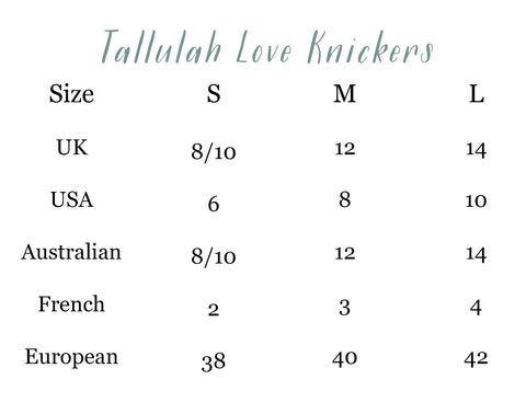 Tallulah Love Knicker Size Guide