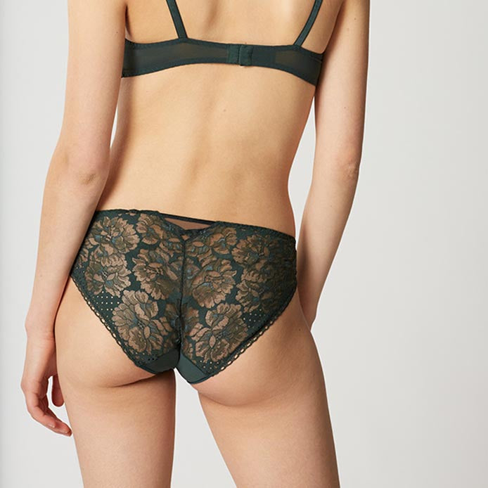 Dot Flower Green Brief | Maison Lejaby Luxury Knickers