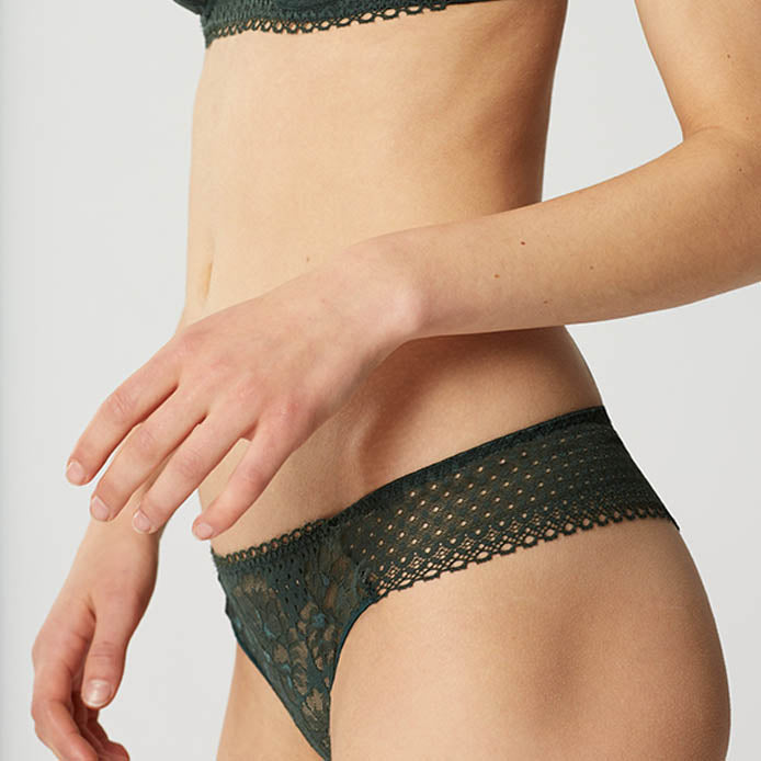 Dot Flower Green Lace Tanga | Masion Lejaby