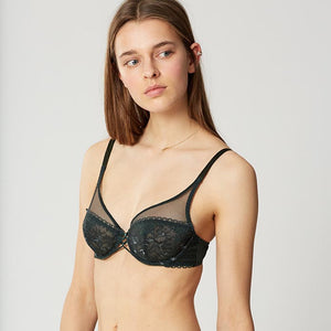 Dot Flowers Green Lace Underwire Bra | Maison Lejaby