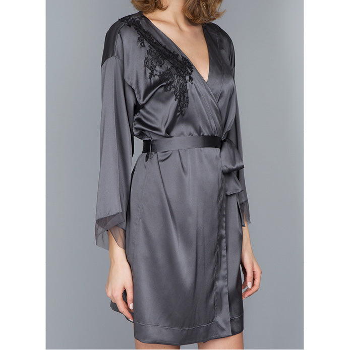 Maison Lejaby Soie Belle Negligee Anthracite Luxury Lingerie