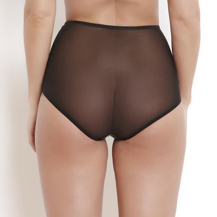 Katherine Hamilton | Sophia Black High Waisted Brief | Luxury Knickers