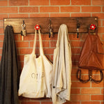 Aged Wood | Modern Farmhouse Coat Hanger with Iron Key Hooks