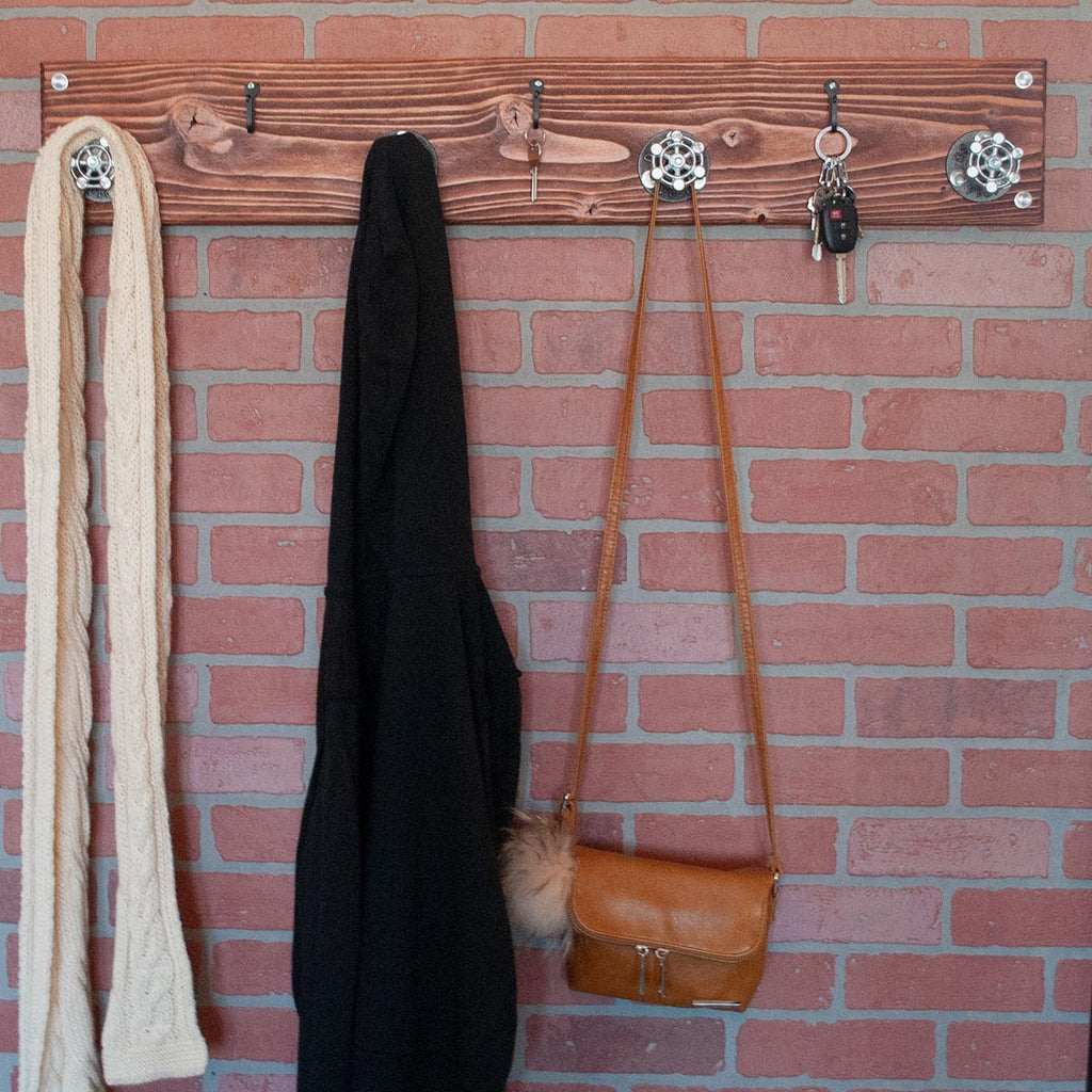 Chestnut | Modern Farmhouse Coat Hanger with Iron Key Hooks