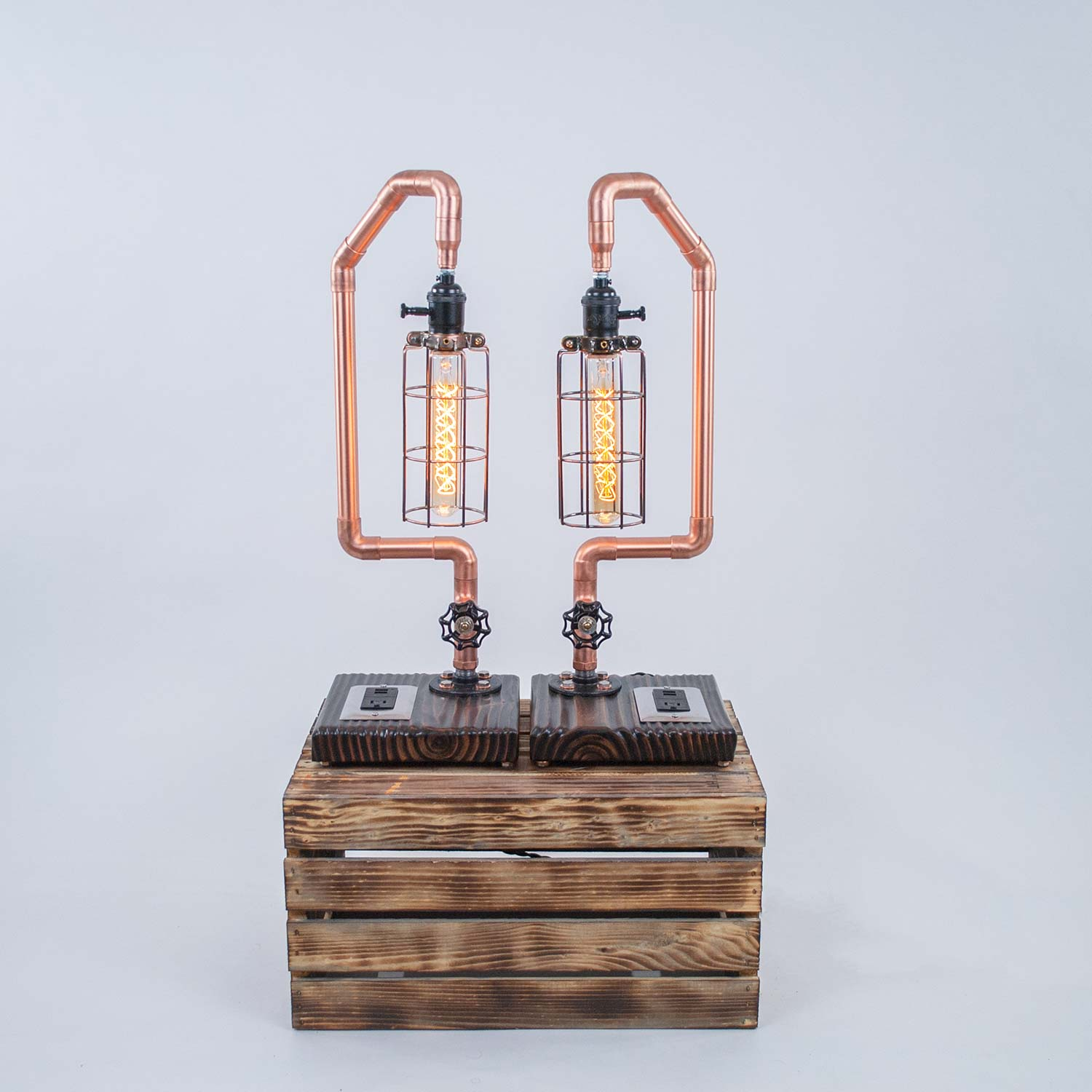 Encaged | Copper Pipe Bedside Lamp with USB