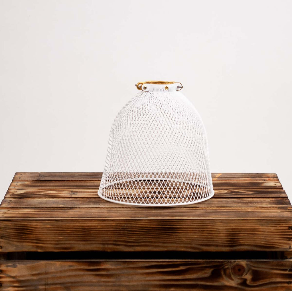 White Coated Metal Rounded Mesh Lamp Shade