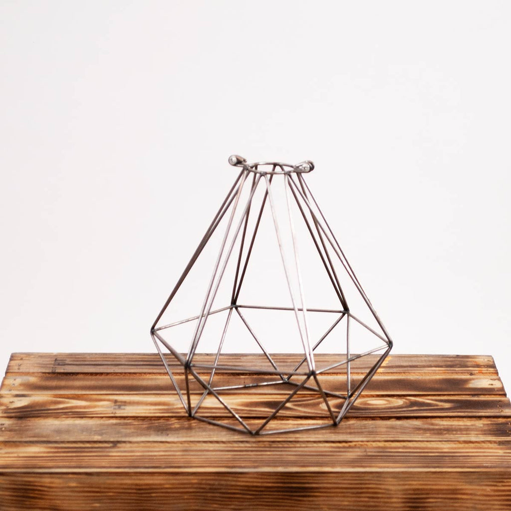 Raw Metal Geometric Diamond Light Cage