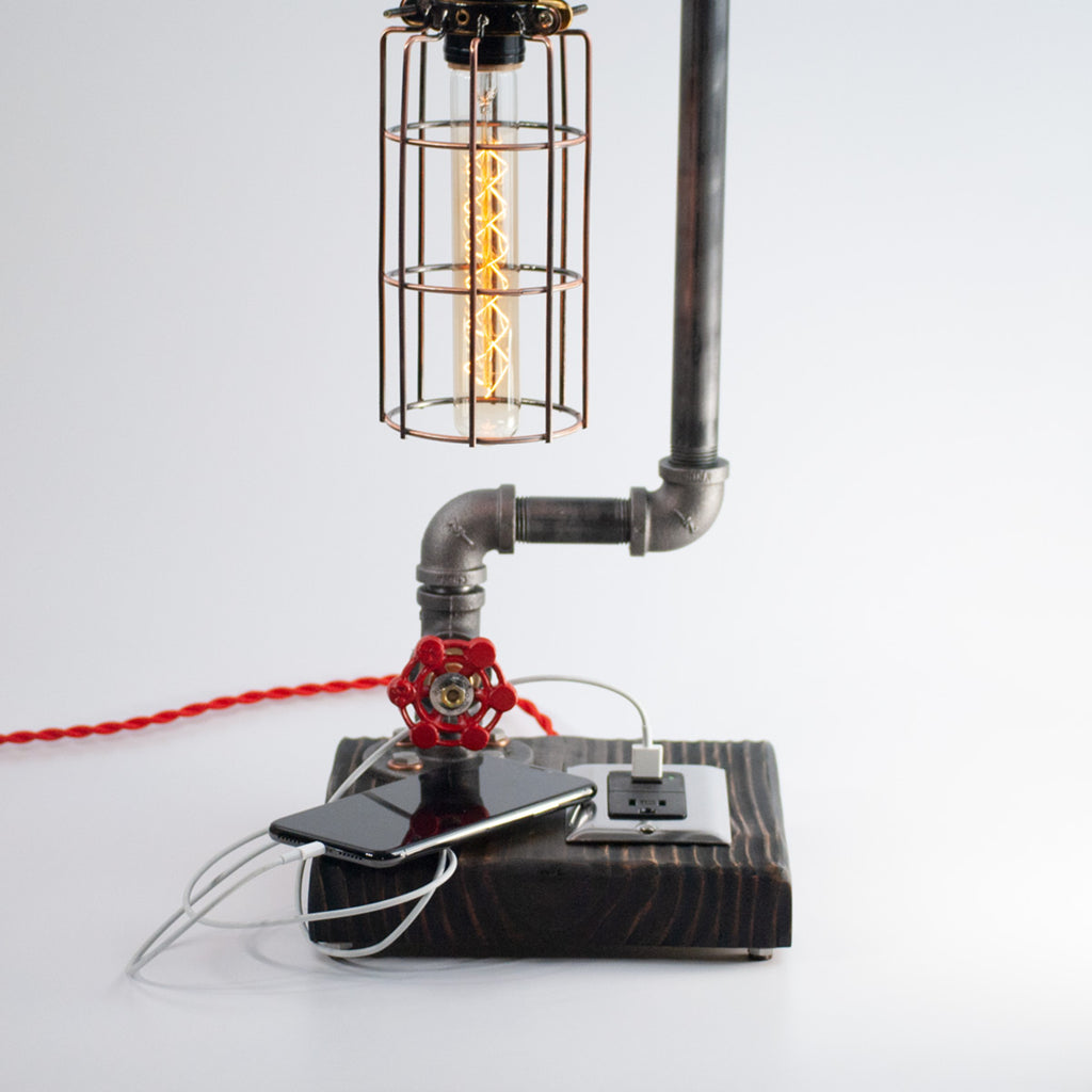 Encaged | Black Iron Pipe Bedside Lamp with USB