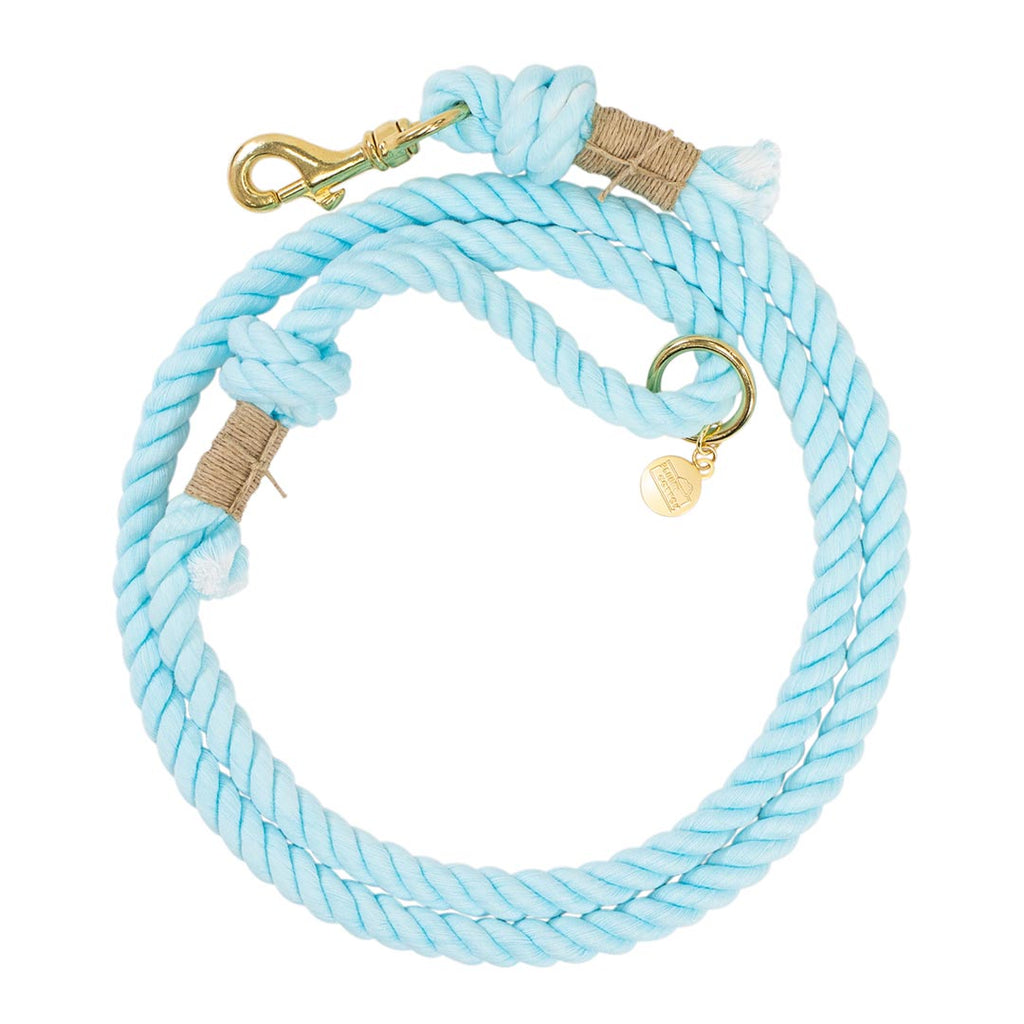 Hand Dyed Classic Cotton Rope Dog Leash - Aqua