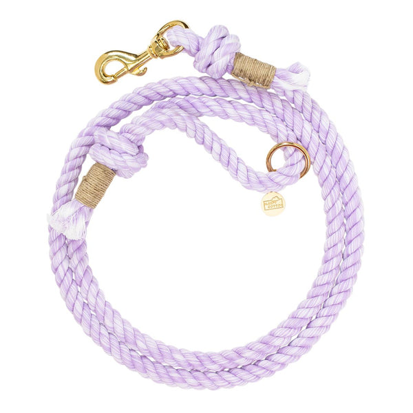 Hand Dyed Classic Cotton Rope Dog Leash - Purple