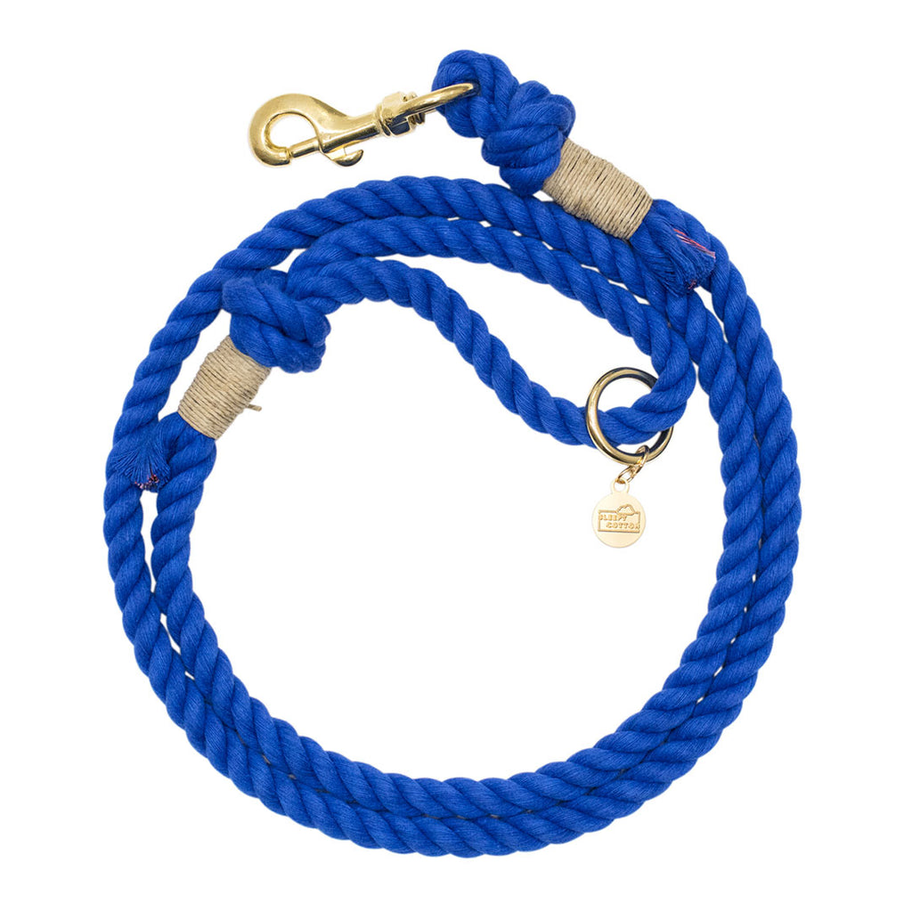 Upcycled Core Cotton Rope Dog Leash - Blue
