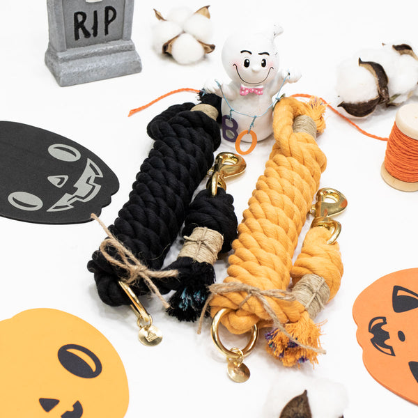 Upcycled Core Cotton Rope Dog Leash - Halloween Set