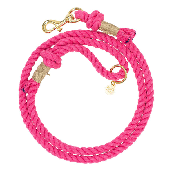 Upcycled Core Cotton Rope Dog Leash - Hot Pink