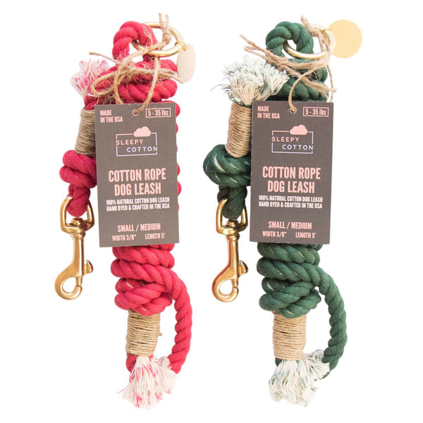 Sleepy Cotton 100% Cotton Rope Dog Leash - Handmade in the USA - Christmas Set